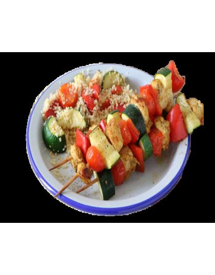 Couscous  brochettes de poulet
