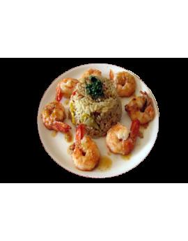 Brochettes de gambas au riz à l'orientale